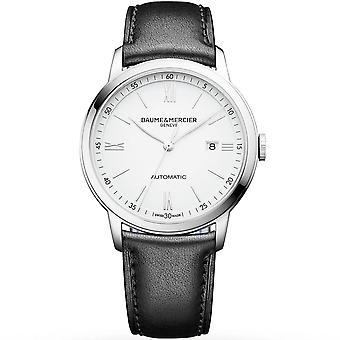 Baume & Mercier M0a10332 Classima Automatic Silver & Black Leather Mens Watch