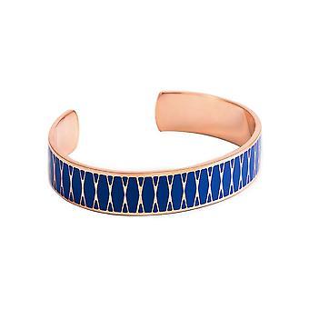 Open armband - palma-apos; Blauw glazuur met een roze afwerking