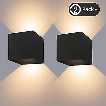 Black 12w indoor / outdoor wall light ip65 waterproof led wall lamp adjustable up down lamp 3000k warm white(2pcs) dt6429