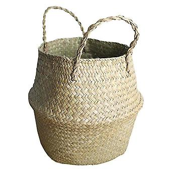 (32 x 28 CM) Flower Plant Seagrass Woven Storage Wicker Basket Straw Pots Bag Home Decoration