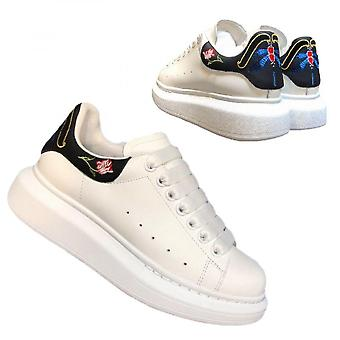 Leather Little White Shoes Embroidery Men's And Women's Casual Sports Shoes Thick Shoes High-rise Board Shoes