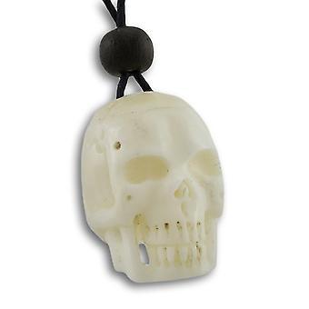 Carved Bone Skull Adjustable Slider Cord Necklace