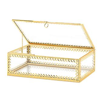 Accent Plus Glass Jewelry Box with Gold Frame, Pack of 1
