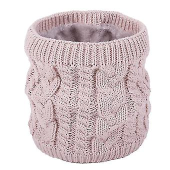 Neck gaiters warm scarf in winter, all-match knitted scarf for couples, pure color plus velvet scarf(pink) #114