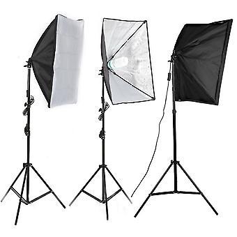 Studio de photographie Softbox avec économie d'énergie 135W Ampoules Kit léger - Noir