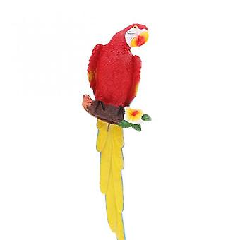 Resin Crafts Realistic Parrot Bird Decorative Plant Pendant Red