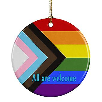 Holiday ornament displays stands carolines treasures ck7990co1 gay pride progress pride all are welcome ceramic
