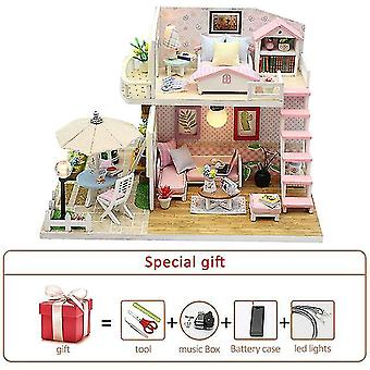 Új diy babaház készlet fa kis ház miniatűr épület felnőtt sütő torta szoba gyerek játékok baba