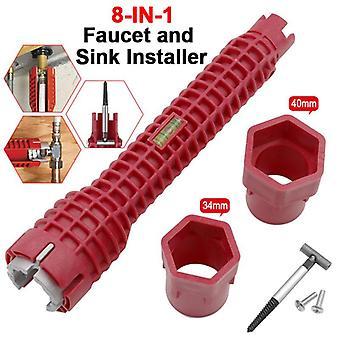 Neuer Schraubenschlüssel 8 in 1 Wasserhahn und Waschbecken Installateur Doppelkopf Wasserrohrschlüssel Mehrzweckschlüssel Sanitär WC Bad Werkzeug