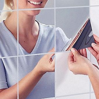 Removable 16pcs/set 15cm Square Mirror Wall Stickers Self-adhesive Sticker