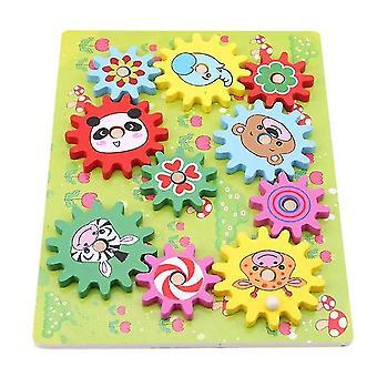 Qian Kids Drewniane koła zwierzęce 3d Bloki konstrukcyjne Materiały Zabawki Edukacja Dzieci Prezent|bloki