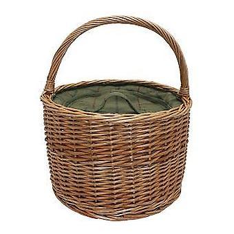 Zöld Tweed Round Wicker Chiller kosár