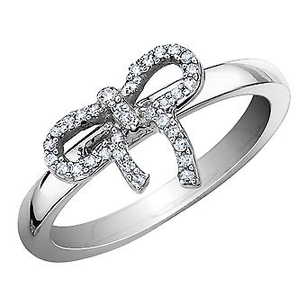 Diamond Forget-Me-Knot Ring 1/10 Carat (ctw) in Sterling Silver