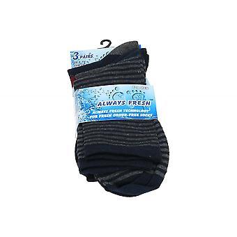 Calcetines a rayas para hombre siempre fresco algodón suave multi-Pack mezcla Multi color