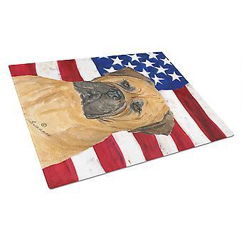 USA American Flag with Bullmastiff Glass Cutting Board Large