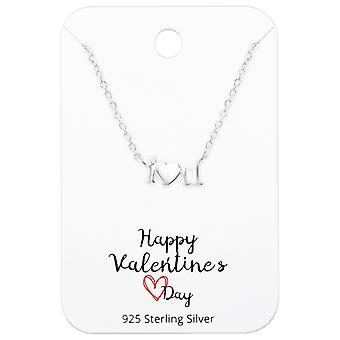 Collier « je t'aime » sur Happy Valentines Day Card - 925 argent Sterling Sets - W36096x