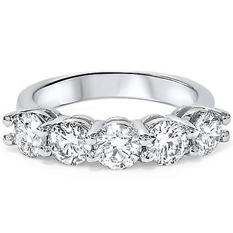 Platinum 2 ct Five Stone Lab Grown Diamond Wedding Ring