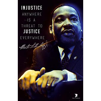 Martin Luther King Jr Poster Quote Injustice Anywhere Art Print (11x17)