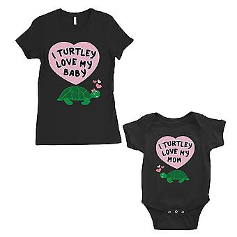 Turtley kærlighed Baby mor mor og Baby matchende gave T-Shirts sort