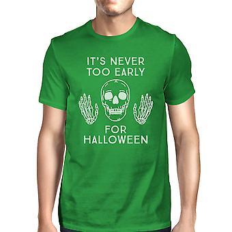 ابدأ أنه من المبكر جداً هالوين القميص الأخضر رجالي قميص الجمجمة