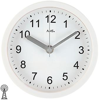 Wall clock / table clock radio white plastic housing waterproof bathroom clock