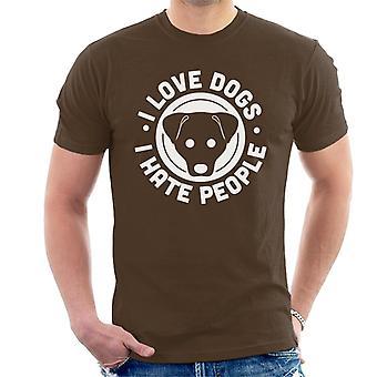 私は犬を愛する人が嫌い男性の T シャツをスローガン