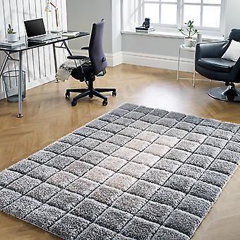 Cube Shaggy Rugs In Grey