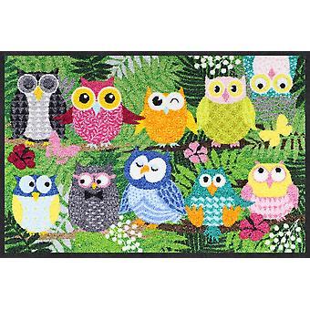 Salon lion jungle owls 50 x 75 cm mat washable dirt mat