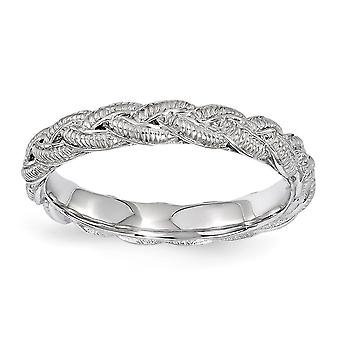3.5mm 925 Sterling Argent Polished Stackable Expressions Rhodium plaqué Twist Ring Jewelry Gifts for Women - Ring Size:
