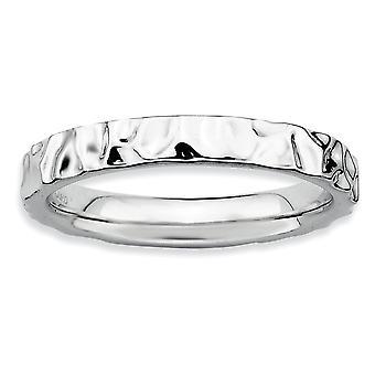 925 sterlinghopea kiillotettu kuviollinen rhodium kullattu pinottava ilmaisuja rhodium rengas korut lahjat naisille - Ring