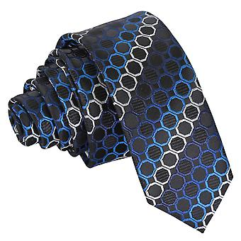 Svart, blå & Silver Honeycomb prickiga smal slips