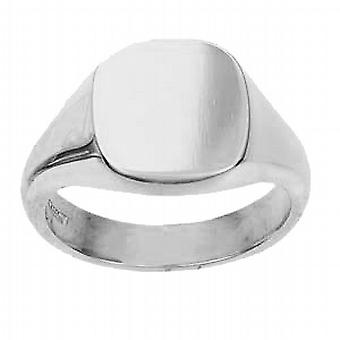 9ct White Gold 14x13mm plain solid cushion Signet Ring Size W