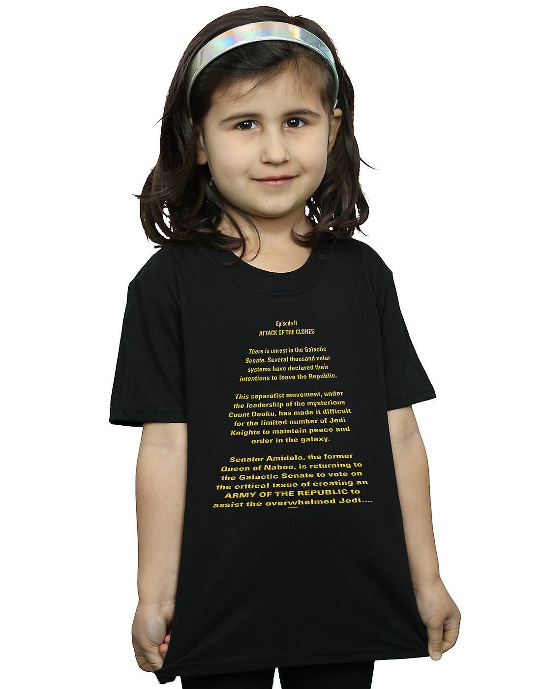 Star Wars Girls Attack Of The Clones Opening Crawl T-Shirt