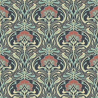 Retro Wallpaper Vintage Floral Metallic Flora Nouveau Peacock Green CWV