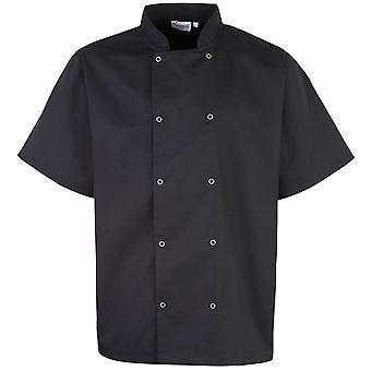Premier Unisex nastoitettu edessä lyhythihainen kokit takki (pakkaus 2)