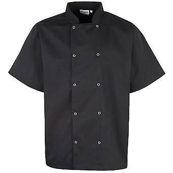 Premier Unisex Studded Front Short Sleeve Chefs Jacket (Pack of 2)