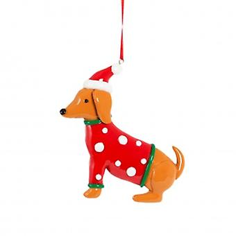 Clay Dachshund Christmas Tree Decoration