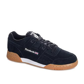 Mens Reebok Classic Workout Plus Eg Trainers In Black White
