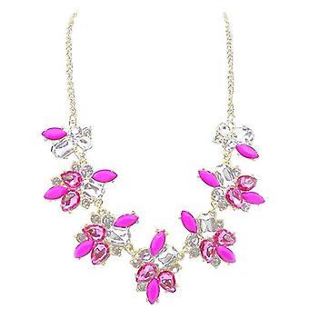 Ladies colourful flower style jewel statement swarovski crystal necklace