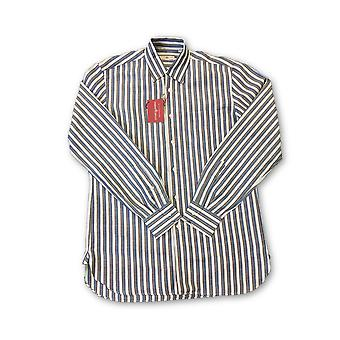 Luciano Barbera shirt in blue, white and brown stripe
