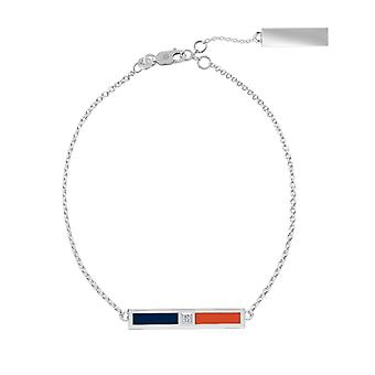 Houston Astros Sterling Silver Diamond Chain Chain Bracelet In Blue and Orange