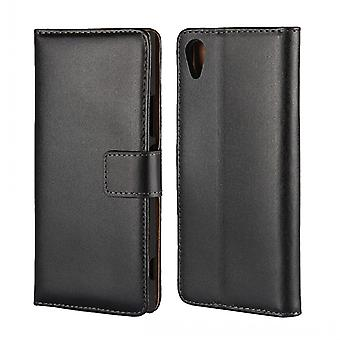 Wallet Case Sony Xperia XA1, genuine leather, black