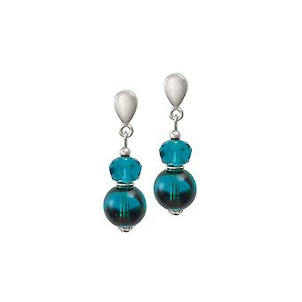 Eternal Collection Regency Teal Tortoiseshell Czech Glass Drop Pierced Earrings