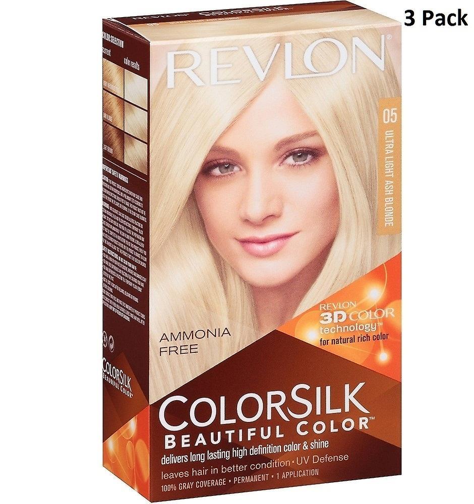 3 X Revlon Colorsilk Ammonia Free Permanent Hair Colour (05 Ultra Light Ash Blonde)