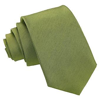 Olive vihreä Plain shantung Slim solmio