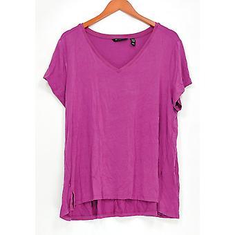 H par Halston Women-apos;s Plus Top Essentials V-Neck Short Sleeve Pink A306231