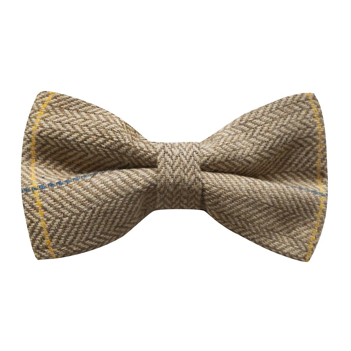 Luxury Light Oak Herringbone Check Bow Tie, Tweed