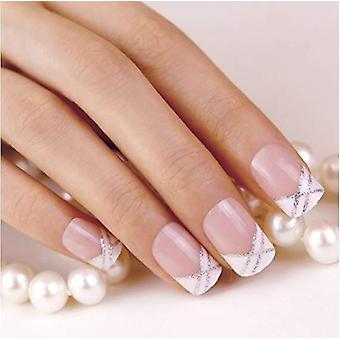 False nails by bling art silver white french manicure fake medium tips with glue