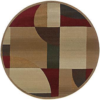 Genesis 5560d tan/brown indoor area rug round 8' rnd