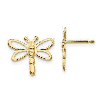 14k Yellow Gold Polished Dragonfly Post Earrings Jewelry Gifts for Women - .3 Grams